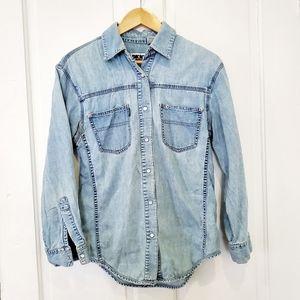 DKNY Vintage Chambray Denim Pearl Snap Shirt